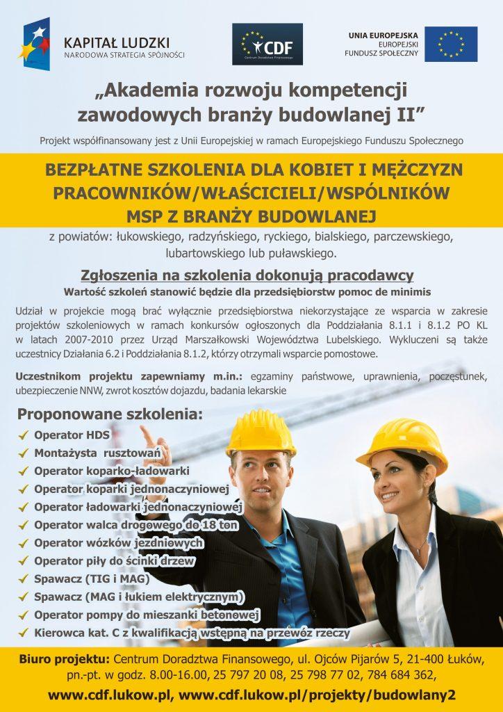 """""""Akademia rozwoju kompetencji zawodowych branży budowlanej II"""""""